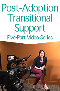 photo of Jeanette Yoffe seated before video camera with title Post-Adoption Transitional Support Five-Part Video Series